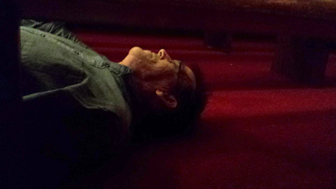 Dr. Joel Beeson lies on the floor of Clinton Chapel in Selma, Al. on April 28, 2015. In order to make a spherical image for the virtual reality project, the photographers must hide from view of the camera.