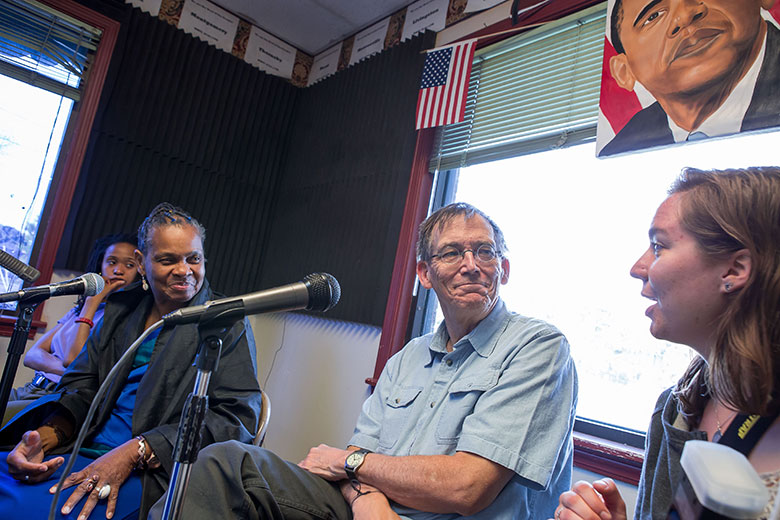 "Morgan State student Emily Pelland, right, and WVU professor Joel Beeson join Faya Rose Toure on the ""Faya's Fire"" radio show on 105.3 in Selma Alabama. Rose is an outspoken civil rights advocate and invited the pair to appear on the show while they were in town working on the Bridging Selma project."