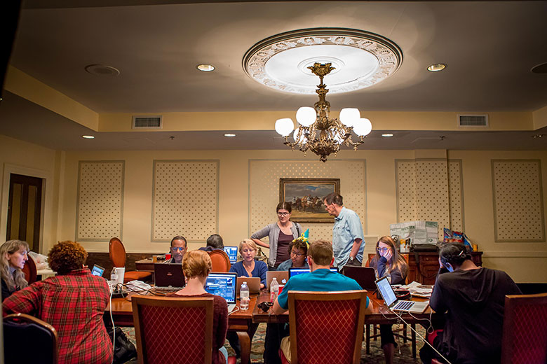 WVU and Morgan State students work late into the night at the St.James Hotel in Selma, Alabama while reporting on the Bridging Selma project.